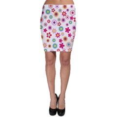 Colorful Floral Flowers Pattern Bodycon Skirt