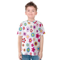 Colorful Floral Flowers Pattern Kids  Cotton Tee