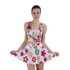 Colorful Floral Flowers Pattern Mini Skirt
