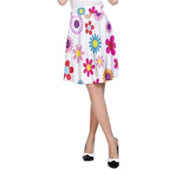 Colorful Floral Flowers Pattern A-Line Skirt