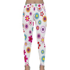 Colorful Floral Flowers Pattern Classic Yoga Leggings