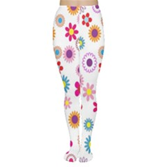 Colorful Floral Flowers Pattern Women s Tights