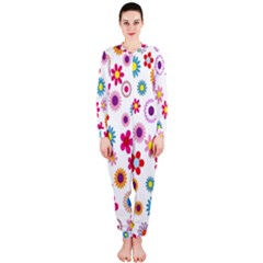 Colorful Floral Flowers Pattern OnePiece Jumpsuit (Ladies)