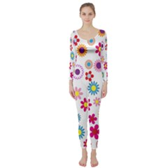 Colorful Floral Flowers Pattern Long Sleeve Catsuit