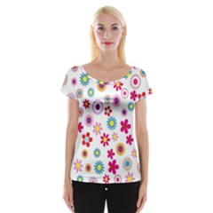 Colorful Floral Flowers Pattern Women s Cap Sleeve Top