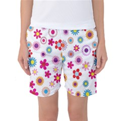 Colorful Floral Flowers Pattern Women s Basketball Shorts