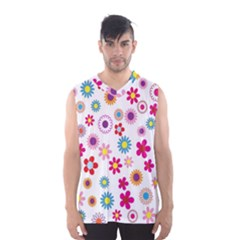 Colorful Floral Flowers Pattern Men s Basketball Tank Top