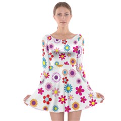 Colorful Floral Flowers Pattern Long Sleeve Skater Dress