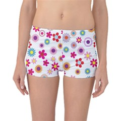 Colorful Floral Flowers Pattern Boyleg Bikini Bottoms