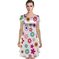 Colorful Floral Flowers Pattern Cap Sleeve Nightdress