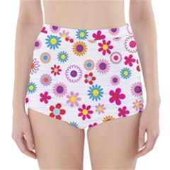 Colorful Floral Flowers Pattern High Waisted Bikini Bottoms