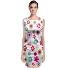 Colorful Floral Flowers Pattern Classic Sleeveless Midi Dress