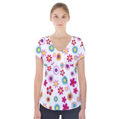 Colorful Floral Flowers Pattern Short Sleeve Front Detail Top