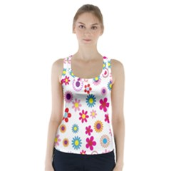 Colorful Floral Flowers Pattern Racer Back Sports Top