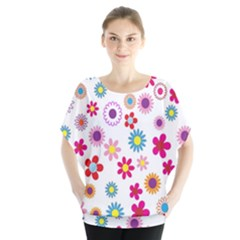 Colorful Floral Flowers Pattern Blouse