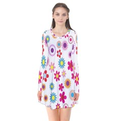 Colorful Floral Flowers Pattern Flare Dress
