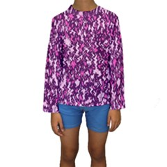 Chic Camouflage Colorful Background Kids  Long Sleeve Swimwear