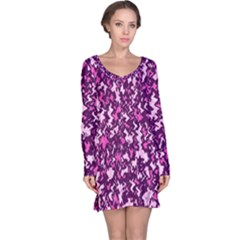 Chic Camouflage Colorful Background Long Sleeve Nightdress