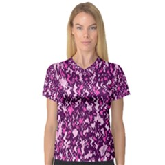 Chic Camouflage Colorful Background Women s V-Neck Sport Mesh Tee