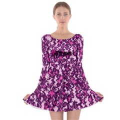 Chic Camouflage Colorful Background Long Sleeve Skater Dress