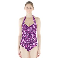 Chic Camouflage Colorful Background Halter Swimsuit