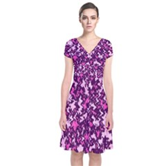 Chic Camouflage Colorful Background Short Sleeve Front Wrap Dress