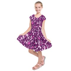 Chic Camouflage Colorful Background Kids  Short Sleeve Dress