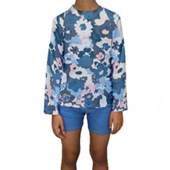 Fabric Wildflower Bluebird Kids  Long Sleeve Swimwear