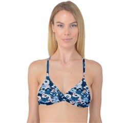 Fabric Wildflower Bluebird Reversible Tri Bikini Top