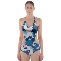 Fabric Wildflower Bluebird Cut Out One Piece Swimsuit