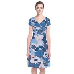 Fabric Wildflower Bluebird Short Sleeve Front Wrap Dress