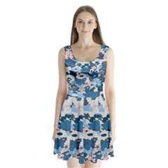 Fabric Wildflower Bluebird Split Back Mini Dress