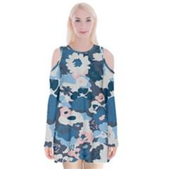 Fabric Wildflower Bluebird Velvet Long Sleeve Shoulder Cutout Dress