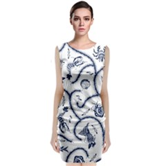 Fish Pattern Classic Sleeveless Midi Dress