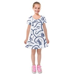 Fish Pattern Kids  Short Sleeve Velvet Dress