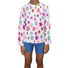 Colorful Floral Flowers Pattern Kids  Long Sleeve Swimwear