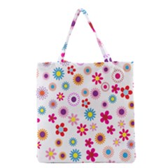Colorful Floral Flowers Pattern Grocery Tote Bag
