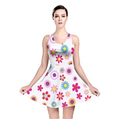 Colorful Floral Flowers Pattern Reversible Skater Dress
