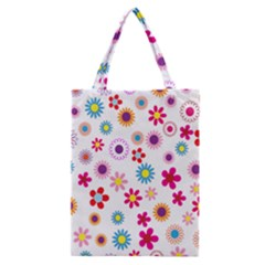 Colorful Floral Flowers Pattern Classic Tote Bag
