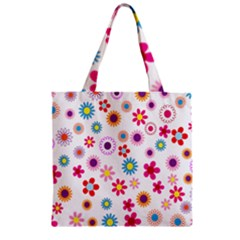 Colorful Floral Flowers Pattern Zipper Grocery Tote Bag