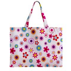 Colorful Floral Flowers Pattern Zipper Mini Tote Bag
