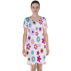 Colorful Floral Flowers Pattern Short Sleeve Nightdress