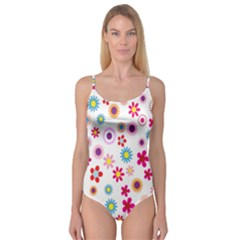 Colorful Floral Flowers Pattern Camisole Leotard