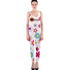Colorful Floral Flowers Pattern OnePiece Catsuit