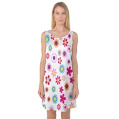 Colorful Floral Flowers Pattern Sleeveless Satin Nightdress