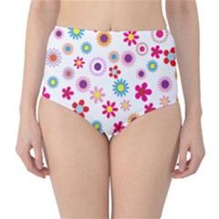 Colorful Floral Flowers Pattern High-Waist Bikini Bottoms