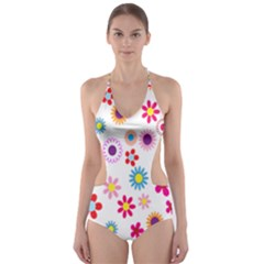 Colorful Floral Flowers Pattern Cut Out One Piece Swimsuit