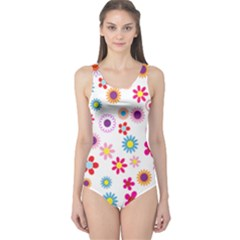 Colorful Floral Flowers Pattern One Piece Swimsuit