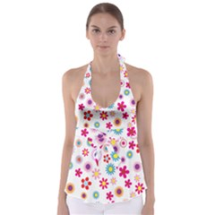 Colorful Floral Flowers Pattern Babydoll Tankini Top