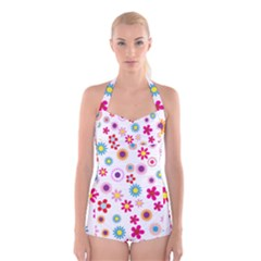 Colorful Floral Flowers Pattern Boyleg Halter Swimsuit